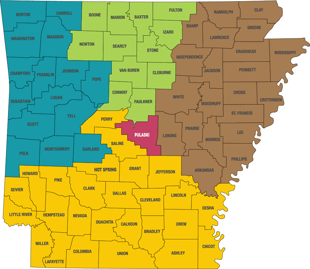 Arkansas Counties divided by representatives. A list of assigned counties by names are listed below.